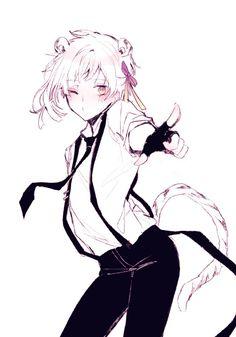Atsushi Nakajima Stray Dogs Anime, Bongou Stray Dogs, Bungou Stray Dogs Atsushi, Neko Boy, Fanart, Kawaii, Animal Ears, Real Anime, Anime Style