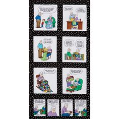 """Pickles comic strip """"Material Girl"""" panel from Timeless Treasures Fabrics.  Also has the regular fabric."""