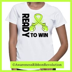 Ready to Win Lymphoma Awareness shirts featuring our originally hand-crafted boxing gloves shaped into a lime green ribbon to raise awareness for Non-Hodgkin's Lymphoma. Makes an empowering gift for anyone looking to take a stand against Lymphoma.