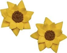 "Mini Sunflowers. Royal Icing. 7/8"" - Item #410435. Certified Kosher. Gluten Free. Nut Free. Dairy Free. 0 gram Trans Fats."