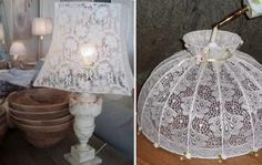 6 unusual ideas for using obsolete curtains – Kitchen Utensils Ideas Doily Lamp, Diy Furniture Redo, Garden Lamps, Kitchen Curtains, Home Textile, Diy And Crafts, Shabby Chic, Tulle, Room Decor