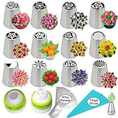 Russian Piping Tips 26-Pcs Russian Nozzles Icing Tips For Cake Cupcake Decorating Supplies Piping Tips Russian Tips Set Cake Frosting Tips Kit 12 Russian Piping Tips 2 Couplers 10 Pastry Baking Bags.