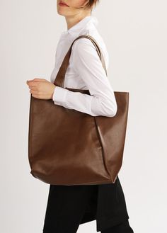 "Brown Leather Tote ""Mary Ann Sepia"", Large Shopper Bag, Handmade Market Tote, Brown Leather Shopping Bag"