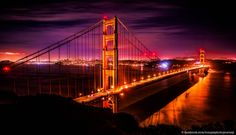 "Golden Gate Bridge by Toneys_Photo_Journey    [Photo is very unclear due to resizing - full resolution is super sharp]    Golden Gate Bridge at night.     One of my friend asked me if I had any ""classic"" shots of San Francisco. I didn't - what a shame. I told her to hold on, hurried to the city, took th"