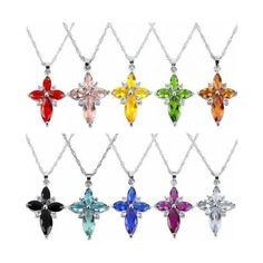 Silver Plated Crystal Rhinestone Cross Pendant Chain Necklace,15Colors ❤ liked on Polyvore featuring jewelry, necklaces, crystal pendant, rhinestone necklace, crystal stone necklace, cross charms and rhinestone cross pendant