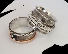 Sterling silver spinnerring, coppar. Oxidized.