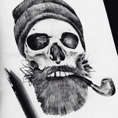 Awesome bearded skull tattoo design