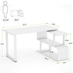 Tribesigns Modern L-Shaped Desk, Rotating Desk Corner Computer Office Desk. - Tribesigns Modern L-Shaped Desk, Rotating Desk Corner Computer Office Desk Study Writing Table Workstation with Shelves for Home Office, White - Home Office Furniture Desk, Modern Office Desk, Office Computer Desk, Small L Shaped Desk, Modern L Shaped Desk, Unique Wood Furniture, Bookshelf Desk, Office Workstations, Writing Table