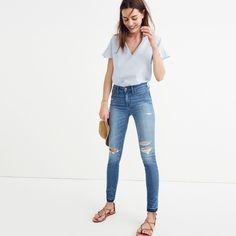 "9"" High-Rise Skinny Jeans in Winifred Wash: Drop-Hem Edition"
