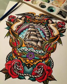 Dead ahead by tyler bredeweg american military ship eagles art print. Old Style Tattoos, Tattoos 3d, Neue Tattoos, Body Art Tattoos, Tattoos For Guys, Sleeve Tattoos, Ship Tattoos, Small Tattoos, Tatoos