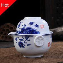 Ceramiki zestaw Herbaty To 1 Zdobądź 1 Szklanki, wysokiej jakości eleganckie gaiwan, Piękne i łatwe czajniczek czajnik, kung fu teaset(China)