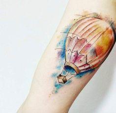 Watercolor Hot Air Balloon Tattoo by Jonas Lima