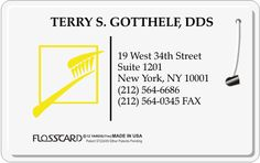 Dental office blueprint dental business office design and floss card new york dental floss card with toothbrush flosscard dental business cards malvernweather Choice Image