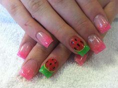 Summer watermelon acrylic nails. Pink, red, green.  KCNails