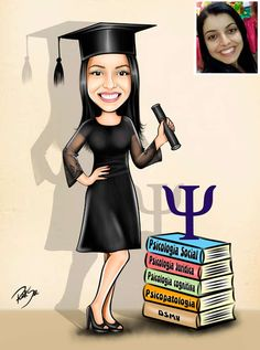 Caricaturas digitais, desenhos animados, ilustração, caricatura realista: Desenho de formanda de Psicologia !