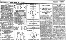 """A portion of the Brooklyn Daily Eagle, January 6, 1875 showing advertisements made from """"ASCII"""" art."""