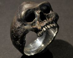 Skull Ring Sterling Silver Mens jewellery by HexCavelli on Etsy