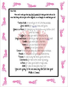 New Dad survival Kit--letter from baby and mommy