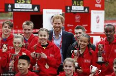 Prince Harry also lent his support to youngsters who took part in the Mini London Marathon...