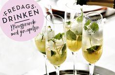 Recept på mousserande drink med gin och apelsin. Fungerar precis som den ska - bryter isen och får upp hungern. Servera med lite salta nötter.