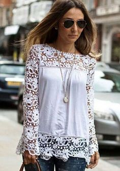 White Patchwork Lace Hollow-out Chiffon Blouse