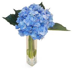"One Kings Lane - The Coffee Table - 13"" Hydrangea in Bud Vase, Blue"
