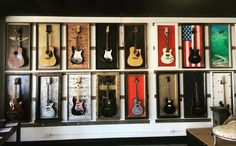 Guitar Display Case, Guitar Storage, Display Cases, Guitar Wall, Guitar Room, Music Recording Studio, Basement Studio, Music School, Family Show