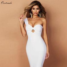 White Bandage Dresses 2018 New Arrivals One Shoulder Party Sexy Dress Women  Bandage Bodycon Vestido Rayon 3e7e2ea5b10b