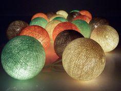 ghirlanda di luce, palle di cotone, lavoro manuale di Siamrose - Art & Decor su DaWanda.com