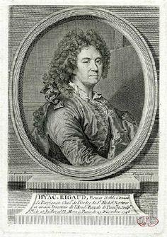Hyacinthe Rigaud (Perpignan 1659-Paris 1743 ; Ecuier noble citoien de Perpignan, Chev. de l'ordre de St Michel, Recteur et ancien Directeur de l'Académie Royale de Peinture et de Sculpture, Né le 25 juillet 1663 mort à Paris le 29 décembre 1743