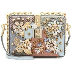 Dolce & Gabbana Dolce Embellished Caiman Leather Box Clutch (€1.810) ❤ liked on Polyvore featuring bags, handbags, clutches, bolsas, purses, accessories, multicoloured, leather handbags, brown handbags and multi colored clutches