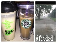 Rain rain go away come back another day.  No lunchtime run today because of the powerful thunderstorm that just came through.   I didn't even venture out to the garden to get some kale for my smoothie. So I just am having a shake and vanilla Shakeology shake today with my iced coffee.  #fitdad #rainday #shakeology #icedcoffee
