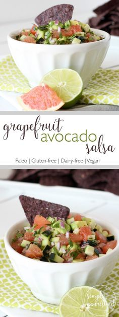 "Grapefruit Avocado Salsa   <a class=""pintag searchlink"" data-query=""%23justeatrealfood"" data-type=""hashtag"" href=""/search/?q=%23justeatrealfood&rs=hashtag"" rel=""nofollow"" title=""#justeatrealfood search Pinterest"">#justeatrealfood</a> <a class=""pintag searchlink"" data-query=""%23simplynourishedrecipes"" data-type=""hashtag"" href=""/search/?q=%23simplynourishedrecipes&rs=hashtag"" rel=""nofollow"" title=""#simplynourishedrecipes search Pinterest"">#simplynourishedrecipes</a>"