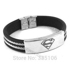 Clic Superman Bracelet Stainless Steel Jewelry Fashion Black Rubber Motor Biker Bangle Men