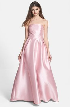 ML Monique Lhuillier Bridesmaids Satin A-Line Gown (Nordstrom