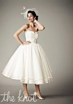 Matthew Christopher 4011 Arabesque Wedding Dress - The Knot  Tea length wedding gown. Gorgeous!