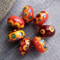 'MruMru' Handmade Lampwork Glass Bead  set Sra by 'magdalenaruiz', $25.00 ETSY<3