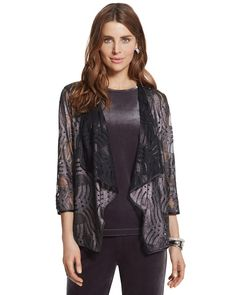 Our airy jacket layer is the ultimate glam finish with deco lace cutouts allover metallic shimmer.  Travelers