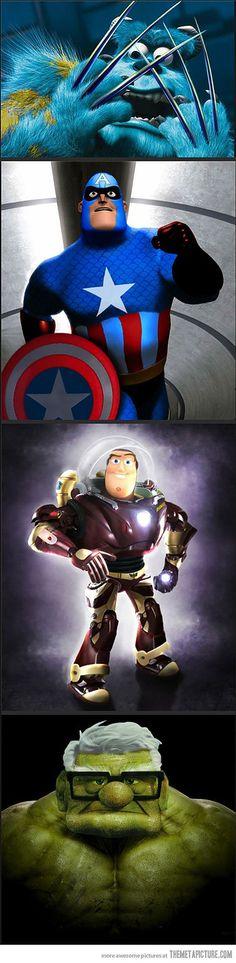 funny Pixar Marvel characters mashups