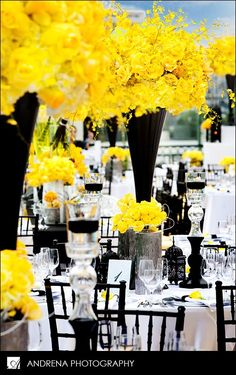 Yellow Black and White wedding reception table decor.