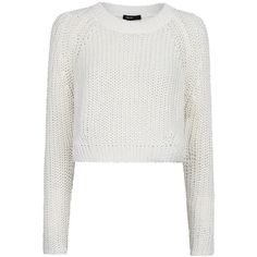 Mango Metallic Cotton Cropped Jumper, Natural White (£17) ❤ liked on Polyvore