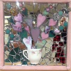 A Cup of Love mosaic by Lisa Skibenes  Vintage china teacup, vintage jewelry, stained glass, mirror