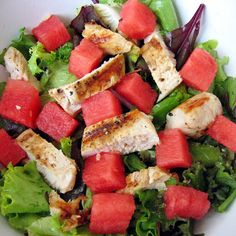 Protein Punch! Watermelon Grilled Chicken Salad  Simple. Easy. Salad Remix. - Fit Villians