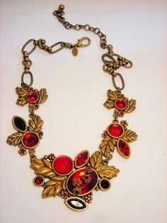 Chico's Crystal Necklace Red Goldtone Rhinestone Flower #Chicos #Chain