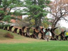 This Contemporary Outdoor Art at the DeCordova Sculpture Park is not temporary but partnering with McWane Ductile in Coshocton–a temporary steel piece is imaginable.