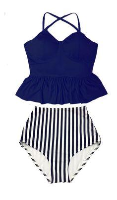 aa2436dd6d568 Peplum Swimsuit Bikini Bathing suit   Navy Blue Tankini Peplum Top and Stripe  High waist waisted Bottom Swim Beach wear set outfit S M L XL by  venderstore ...