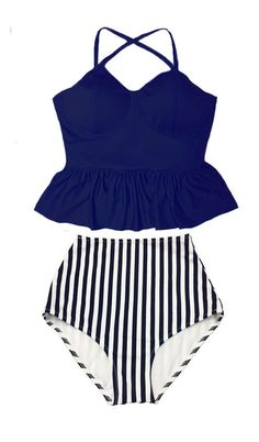 Peplum Swimsuit Bikini Bathing suit : Navy Blue Tankini Peplum Top and Stripe High waist waisted Bottom Swim Beach wear set outfit S M L XL by venderstore on Etsy