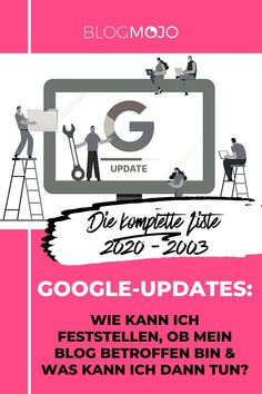 Wie kann ich feststellen, ob mein Blog von einem Google-Update betroffen ist und was kann ich dann tun? Und was ist eigentlich ein Google Algorithmus Update genau? Wenn du dir diese Fragen stellst, schau gleich bei meinem ausführlichen Blogartikel zu allen Google-Updates vorbei. Dort kannst du dich über alle Änderungen im Google-Algorithmus informieren und checken, ob du deine Website bzw. Blog betroffen ist. #blogmojo