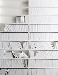 White shelves, white books