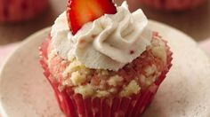 Strawberry-Rhubarb cupcakes with streusel topping and icing